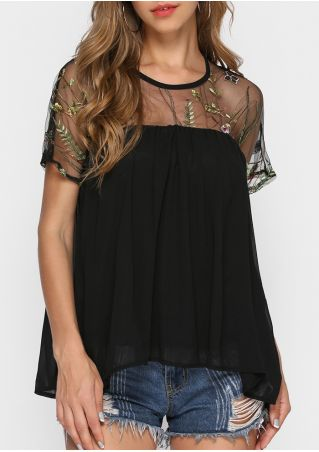 Embroidery See-Through Splicing Blouse