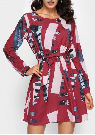 Geometric Printed Long Sleeve Mini Dress