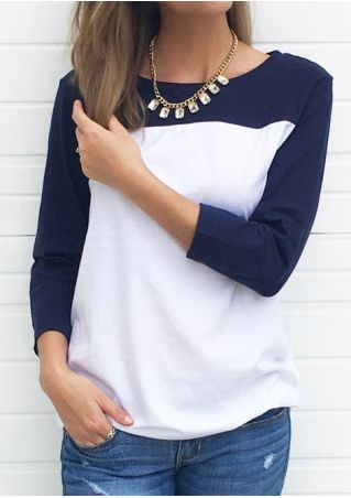 Color Block O-Neck T-Shirt without Necklace