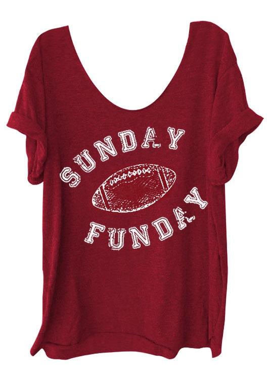 Sunday Funday Football O-Neck T-Shirt