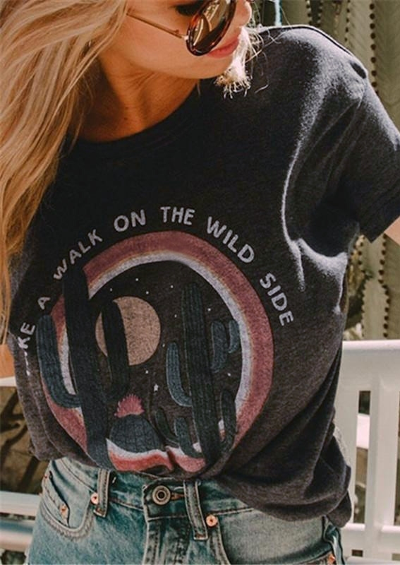 Take A Walk On The Wild Side Cactus T-Shirt Tee in Dark Grey. Size: S,M,L,XL фото