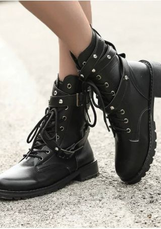 Solid Lace Up Buckle Strap Boots