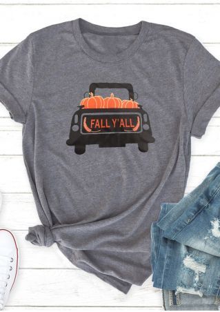 Fall Y'all O-Neck Short Sleeve T-Shirt Tee