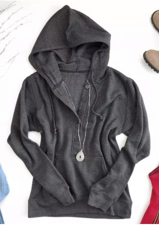 Solid Button Pocket Long Sleeve Hoodie