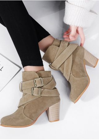 Solid Buckle Strap Heeled Boots