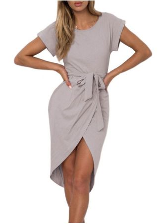 Solid Tie Wrap Bodycon Dress without Necklace