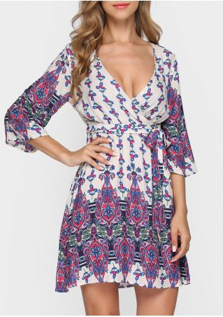 Printed Deep V-Neck Mini Dress