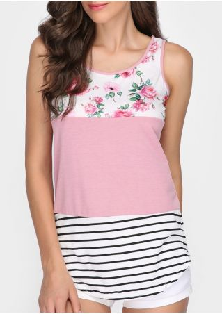 Floral Striped Splicing O-Neck Tank without Choker