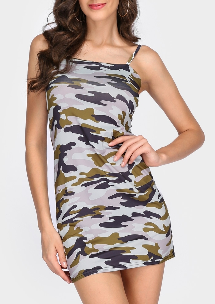 Image of Camouflage Printed Spaghetti Strap Bodycon Dress