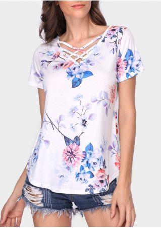 Floral Criss-Cross V-Neck Blouse
