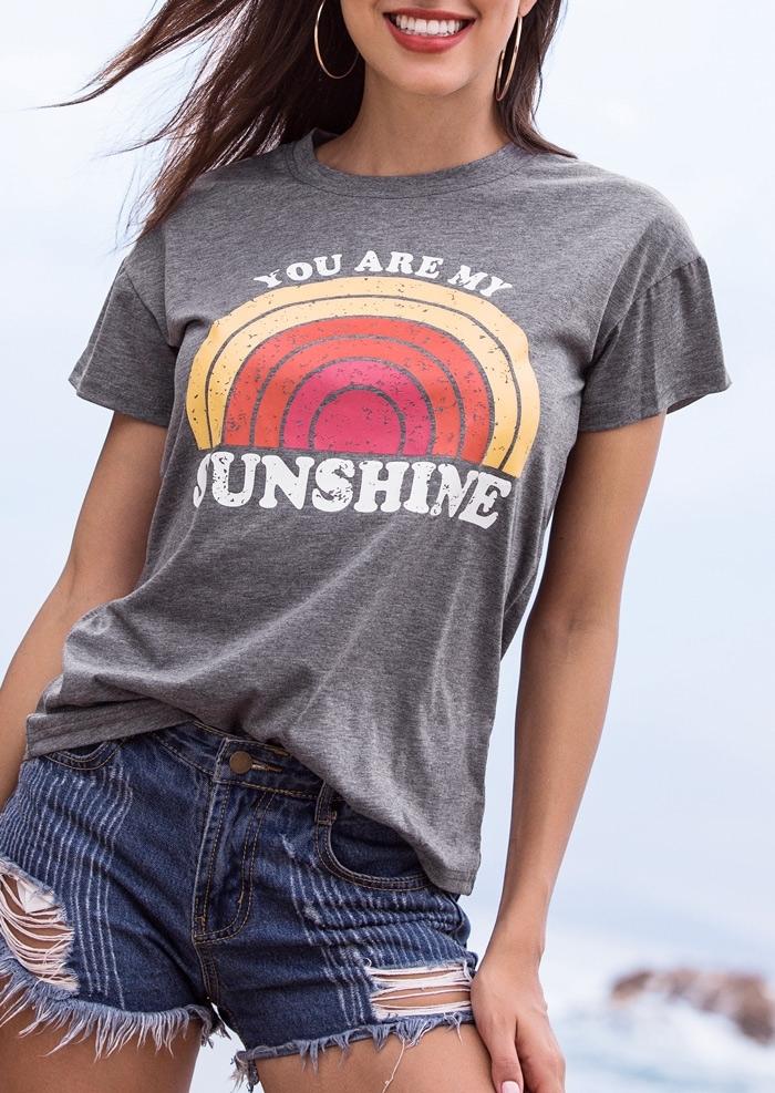 You Are My Sunshine Rainbow O-Neck T-Shirt фото