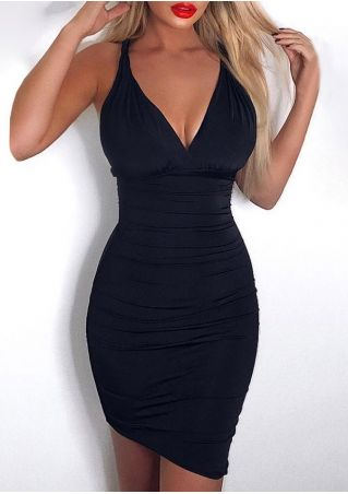 045e49ac4602 Solid Deep V-Neck Bodycon Dress - Fairyseason