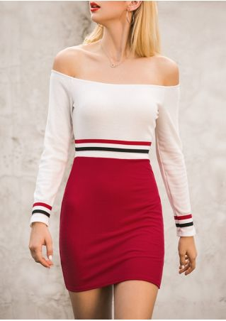 Striped Off Shoulder Bodycon Dress without Necklace