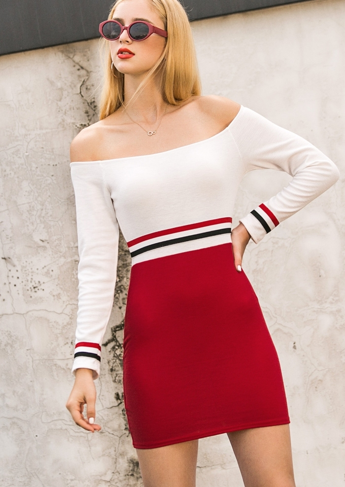 ab99d1ff48e8 Striped Off Shoulder Bodycon Dress without Necklace - Fairyseason