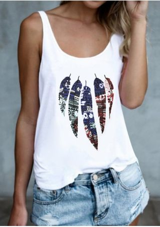 Feather Printed Casual Tank Top