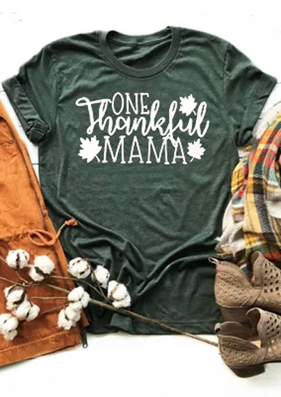 One Thankful Mama Maple Leaf T-Shirt