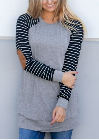 Striped Elbow Patch Baseball T-Shirt Tee