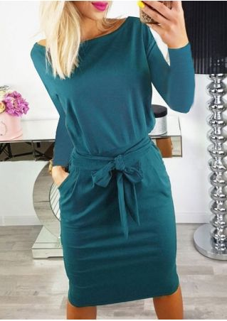 Solid O-Neck Pocket Casual Dress