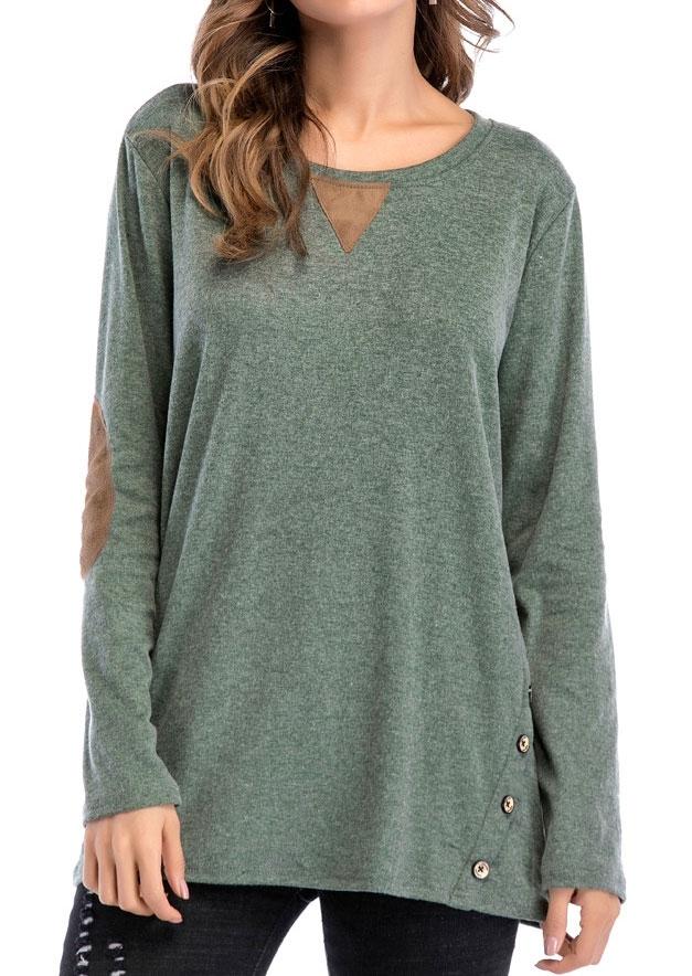 Elbow Patch Button Long Sleeve T Shirt Tee Fairyseason