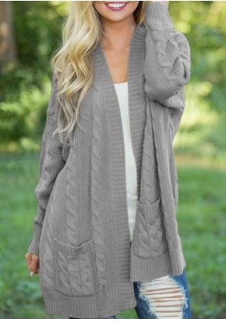 Solid Knitted Pocket Cardigan