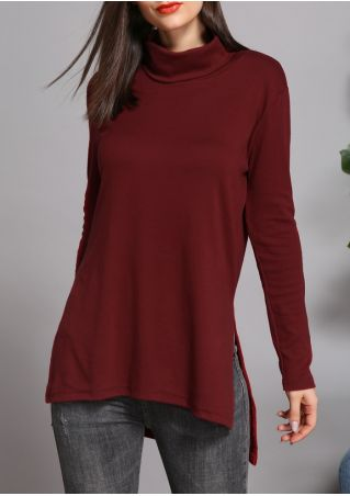 Solid Turtleneck Slit Asymmetric Blouse