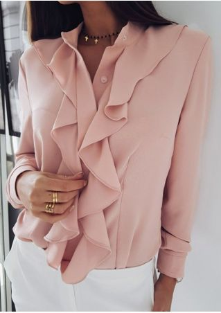 Solid Ruffled Long Sleeve Button Shirt without Necklace