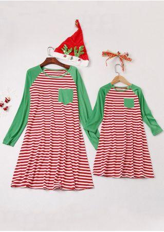 mommy me striped splicing mini dress