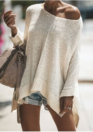 Solid One Shoulder Asymmetric Sweater