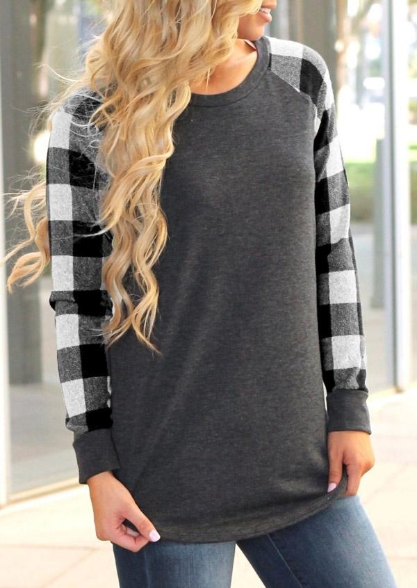 Plaid Splicing O Neck Long Sleeve T Shirt Fairyseason