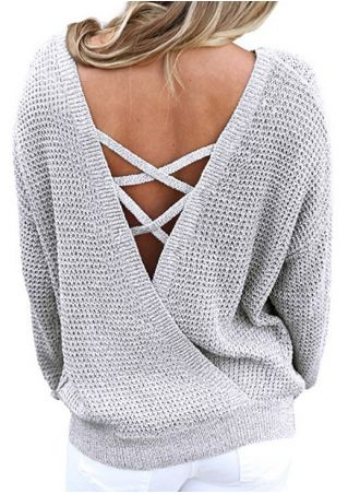 Solid Knitted Criss-Cross Backless Sweater