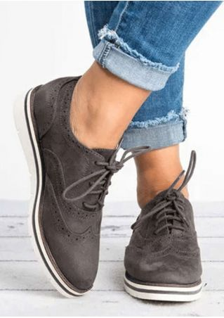 Solid Lace Up Round Toe Flats