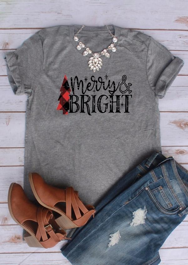 Merry & Bright O-Neck T-Shirt Tee