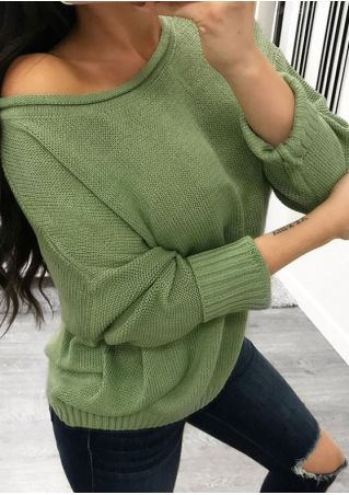 Solid Knitted Batwing Sleeve Sweater