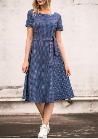 Polka Dot Short Sleeve Casual Dress