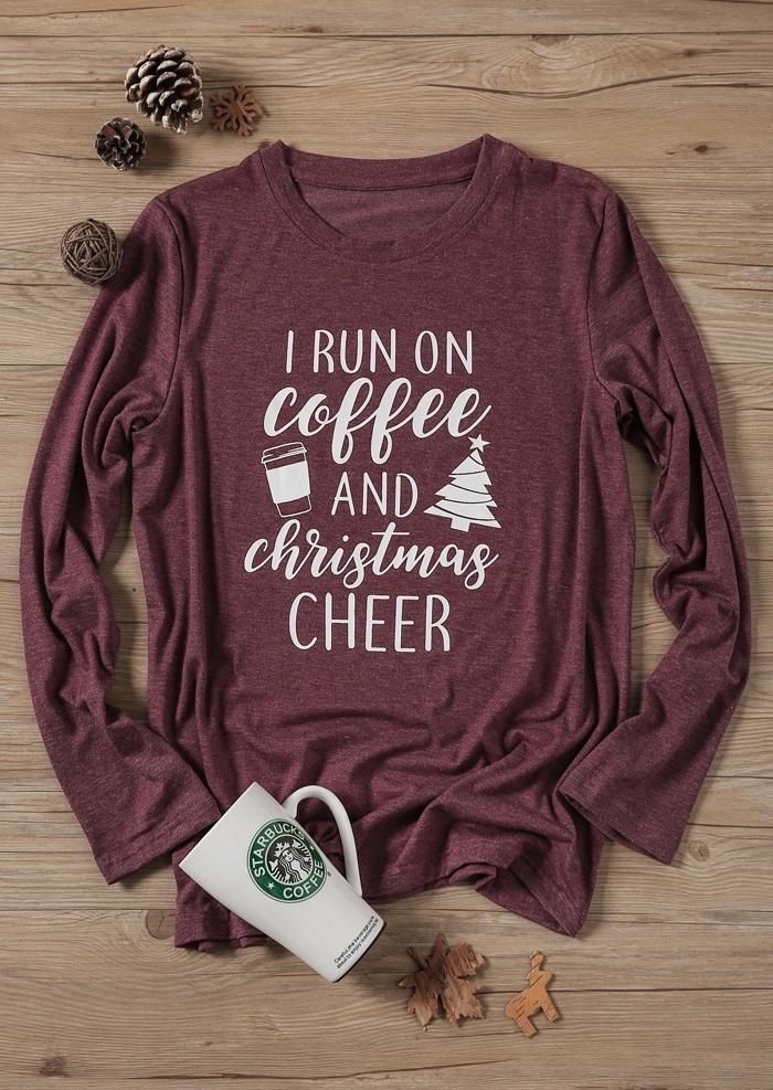 I Run On Coffee And Christmas Cheer T-Shirt Tee