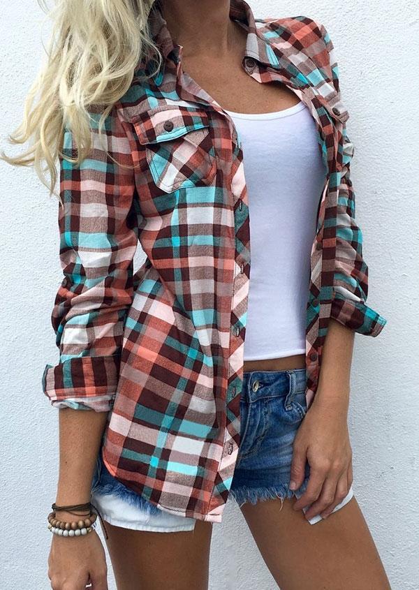 Women's Plaid Pocket Turn-Down Collar Flannel Shirt in Plaid. Size: S,M,L,XL,3XL,XXL фото