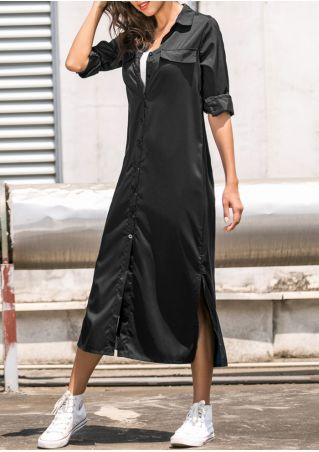Solid Button Slit Casual Dress