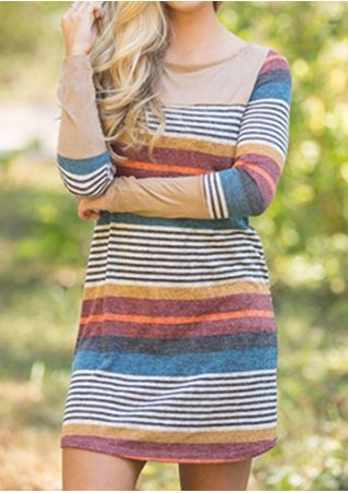 Striped O-Neck Long Sleeve Mini Dress