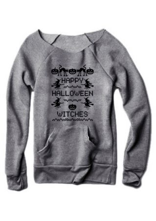 Happy Halloween Witches Pocket Sweatshirt