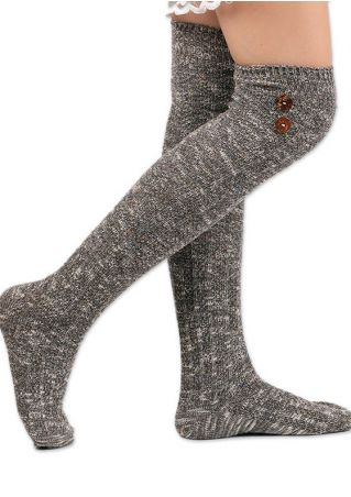 Button Soft Comfortable Long Socks