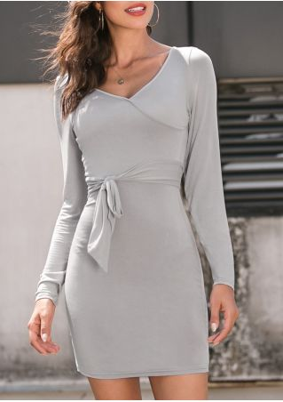 Solid V-Neck Long Sleeve Bodycon Dress without Necklace