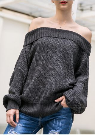 Solid Knitted Off Shoulder Sweater