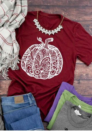 Pumpkin O-Neck Short Sleeve T-Shirt Tee