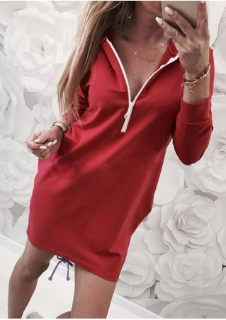 Solid Zipper V-Neck Hooded Mini Dress without Necklace
