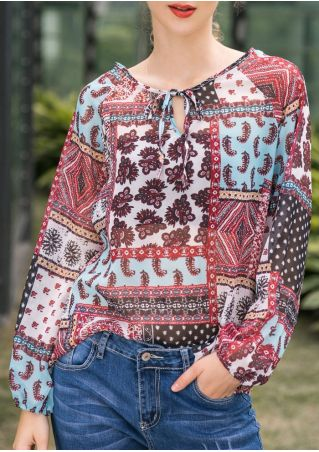 Printed Tie Chiffon Long Sleeve Blouse