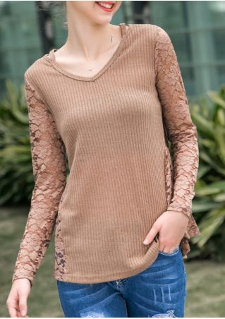 Solid Lace Floral Splicing V-Neck Blouse without Necklace