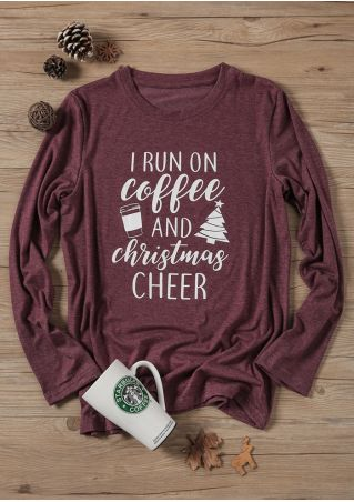 I Run On Coffee And Christmas Cheer T-Shirt Tee