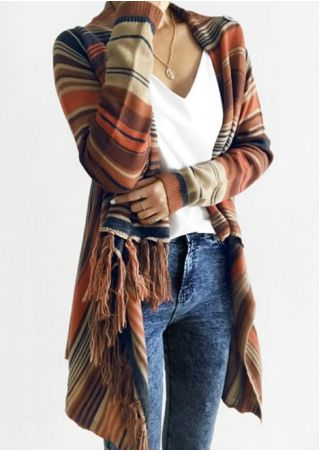 Striped Fringe Asymmetric Long Sleeve Cardigan without Necklace