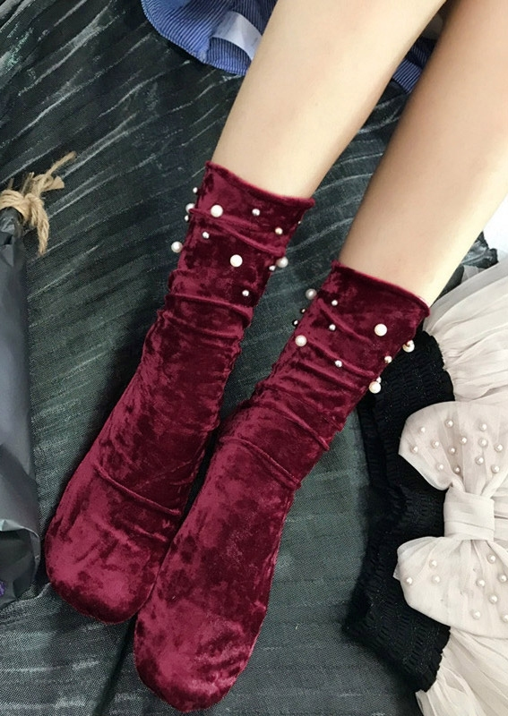 Image of Beading Splicing Silk Velvet Socks