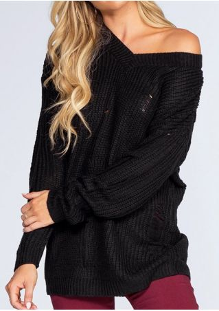 Solid V-Neck Knitted One Shoulder Sweater